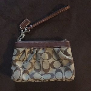 Coach brown fabric &leather wristlet/clutch